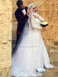 muslim wedding dress save on white muslim wedding dresses sleeve appliques