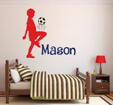 football wall stickers boy promotion shop for promotional football boy playing football silhouette custom name wall sticker personalized boys name nursery room home decor vinyl wall mural m 4