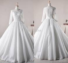 ball gown vintage boat neck lace bodice long sleeves floor length