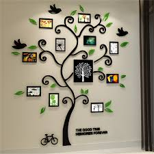 acrylic photo frame wall sticker promotion shop for promotional 2016 new 11pcs photo frame tree acrylic 3d three dimensional wall stickers tv sofa home decorative diy crystal decal family tree