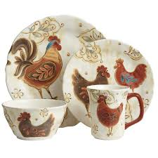 16 piece sunflower rooster dinnerware set from seventh avenue