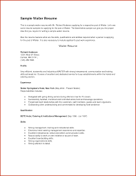 Resume Template Tips Neoteric Sample Server Resume 9 Food Service Waitress Waiter