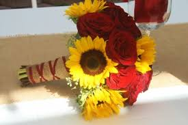 Sunflower Wedding Bouquet Red Rose And Sunflower Wedding Bridal Bouquet In Riverside Ca