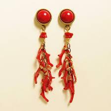 top earings jan button top branch coral earrings talich
