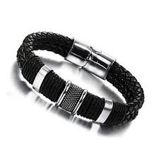 bracelet leather mens images Mens weave chain wristband leather bracelet selamkollection jpg