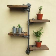 Urban Rustic Home Decor by Industrial Rustic Urban Iron Pipe Wall Shelf 4 Tiers Wooden Board