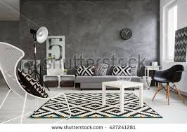 white living room black furniture window stock photo 556909138