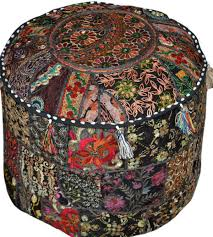 large round tufted storage ottoman