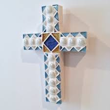 personalized crosses baptism gift gift from godparent blue white mosaic cross