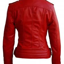leather skin women red brando white zippers leather jacket on luulla