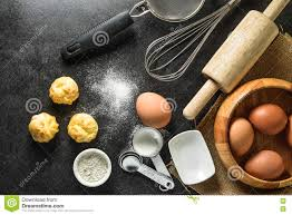 Kitchen Utensils Kitchen Utensils And Baking Ingredients Egg And Flour On Black