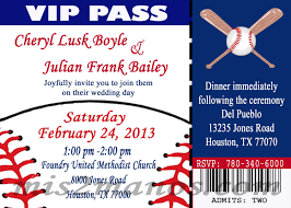baseball theme wedding party printable ticket invitations diy