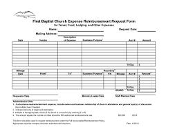 employee expense reimbursement form template and church expenses