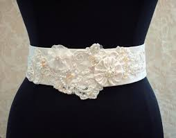 satin sash belt beaded wedding sash belt vintage ivory lace satin organza