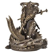 Wiccan Home Decor Thor Norse God Slaying Dragon Statue Vikings Avengers