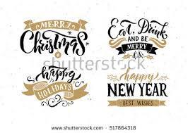 merry happy new year happy stock vector 517864318