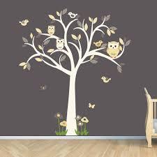 owl decal owl tree wall sticker goldish yelllow grey owl