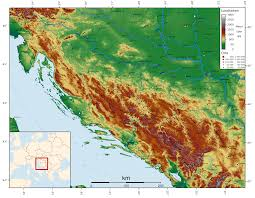 Topographic Map Of Europe by Map Of Bosnia And Herzegovina Topographic Map German