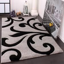 negozi tappeti moderni tappeto di design orlo lavorato moderno ondulato nei colori grigio