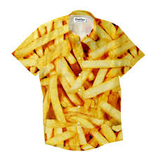 Home Fries by French Fries Invasion Short Sleeve Button Down Shirt Shelfies