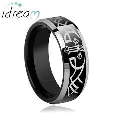 tungsten carbide wedding bands for cross wing engraved tungsten wedding band for black