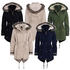 new womens la s military faux fur hood pu trim fishtail parka