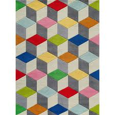 Round Kids Rug by Multi Color Rubic Cube Area Rug