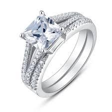 Cubic Zirconia Wedding Rings by Sterling Silver Split Shank Princess Cut Cubic Zirconia Bridal