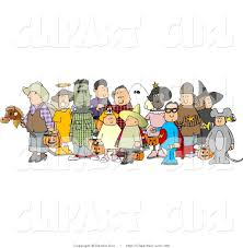 clip art of a group of adults and children wearing halloween