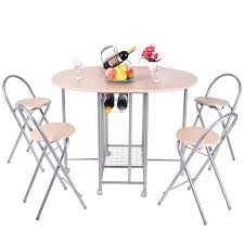 Folding Dining Chairs Costway 5pc Foldable Dining Set Table And 4 Chairs Breakfast