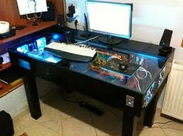 Desk For Pc Gaming Desk With Built In Pc Gaming Desks And Tech Intended For Amazing