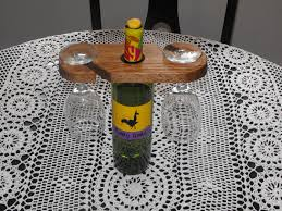 diy wood wine bottle and upside down glass holders for table