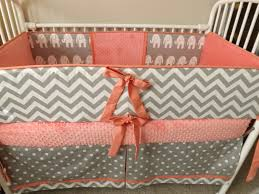 White Crib Set Bedding Baby Bedding Crib Set Coral Gray Chevron Deposit
