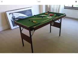 4ft pool table folding junior pot black snooker pool table 4ft 6 still in box folds in