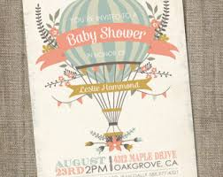 air balloon baby shower invitation air balloon baby shower