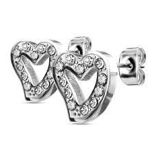 surgical steel stud earrings hollow heart surgical steel stud earrings buy jewellery