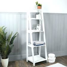Bathroom Ladder Shelves White Storage Ladder White 5 Tier Bookcase Bookshelf Leaning Wall