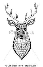 eps vectors of deer head engraving style vintage illustration