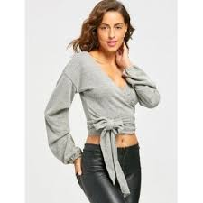 wrap sweater top 2018 plunging neckline puff sleeve wrap sweater gray s in sweaters