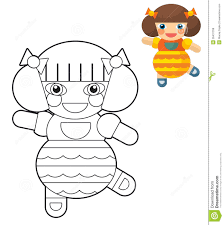 cartoon doll coloring page with preview for children