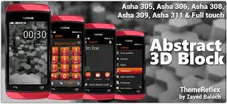 themes nokia asha 308 download abstract 3d blocks theme for nokia asha 305 306 308 and asha 311