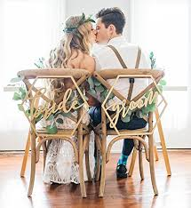 Wooden Wedding Chairs Amazon Com Geometric Wedding Chair Signs For Bride And Groom