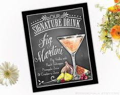 personalized signature drink signs chalkboard style
