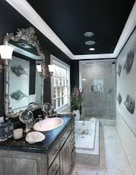 exquisite bathrooms that unleash the beauty black dark ceiling gives the narrow bathroom cozy refined ambiance design philip nimmo