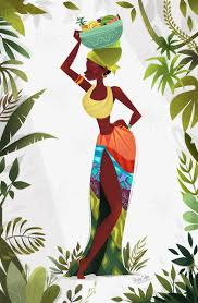 african woman art afrocentric art afrocentric decor by iqstudio african vibe art illustration drawing