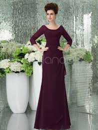 vintage grape purple chiffon spaghetti strap floor length prom