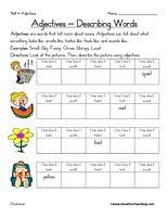 first grade identify adjectives worksheet first grade