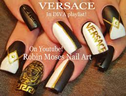 robin moses nail art soft tan with black and gold winter diva