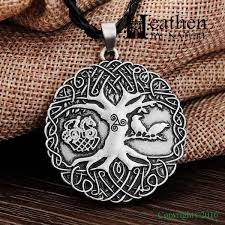 viking necklace wolf tree of silver heathen by nature