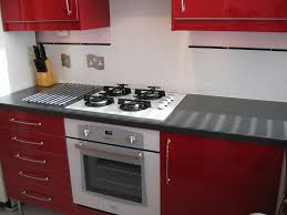 Black Gloss Kitchen Ideas by Amusing Red Kitchen Ideas And Black Doff Cabinet With Grey Floor